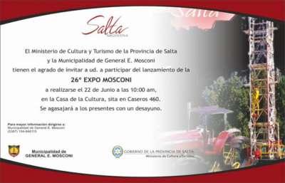 Hoy realizarán el lanzamiento de Expo Mosconi 2017