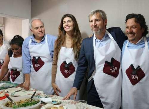 Gustavo Sáenz, Bettina Romero y Matías Cánepa recibieron a Frigerio