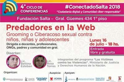 #ConectadoSalta: el lunes 16, charla sobre el Grooming o ciberacoso